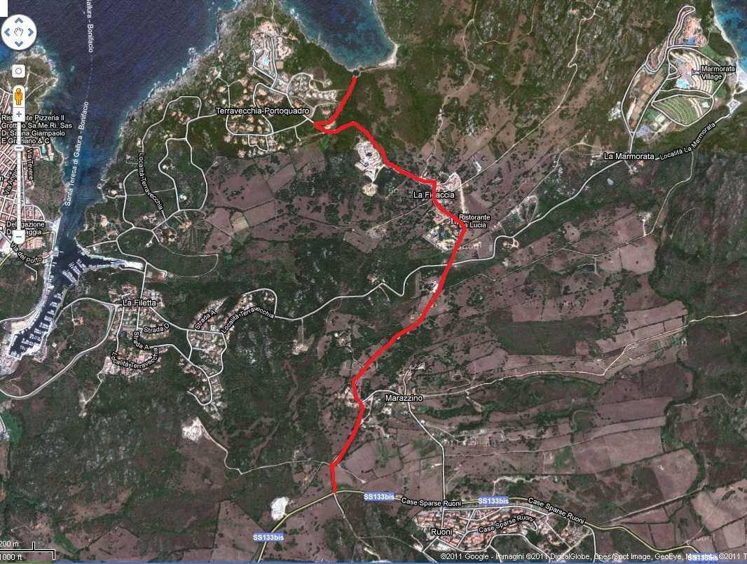 percorso direzione da Palau